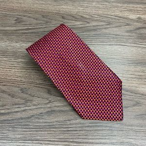 Jos A Bank Red, Black, Blue & Gold Check Tie